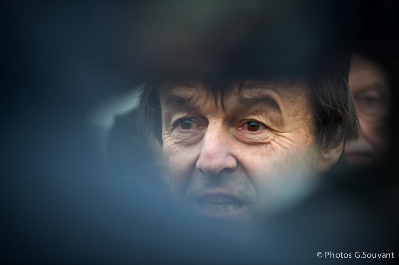 FRANCE, Juille : French Minister for the Ecological and Inclusive Transition Nicolas Hulot gives a press conferences after visit a wind turbine on January 08, 2018 in Juille, western France. PHOTO / GUILLAUME SOUVANT/SIPA