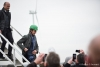 FRANCE, Juille : French Minister for the Ecological and Inclusive Transition Nicolas Hulot flanked by CEO of Direct Energy Xavier Caitucoli (L) leave a wind turbine on January 08, 2018 in Juille, western France. PHOTO / GUILLAUME SOUVANT/SIPA