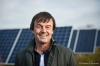 FRANCE, Allonnes : French Minister for the Ecological and Inclusive Transition Nicolas Hulot is pictured as he visits a photovoltaic parc on January 08, 2018 in Allonnes, western France. PHOTO / GUILLAUME SOUVANT/SIPA
